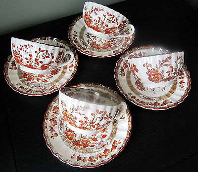 "Set of Four Cups and Saucers Copeland Spode ""India Tree"", Orange/Rust"