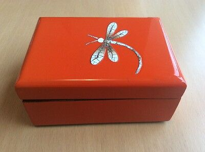 Pretty Chinese Orange Lacquered Ornamental Trinket Box Jewellery,Dragonfly Theme