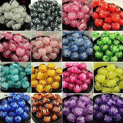 8/10/12mm Pumpkin Acrylic faceted color Beads Bracelet necklace Jewelry making