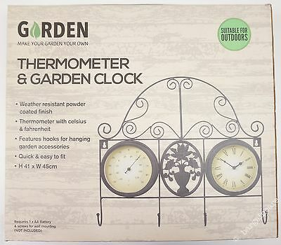 New Garden Thermometer & Clock for Outdoor Wall with Hanging Basket Hooks [3J]