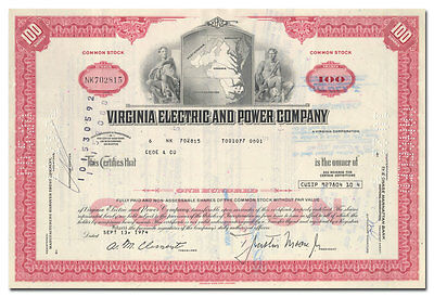 Virginia Electric and Power Company Stock Certificate