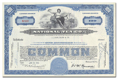 National Tea Company Stock Certificate Issued to Goldman, Sachs & Co.