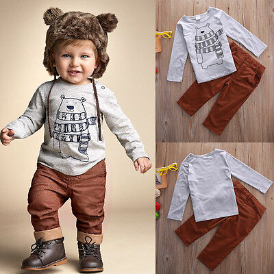 US Kids Baby Boy Long Sleeve Deer Tops T-shirt+Pants 2PCS Outfits Set Clothes