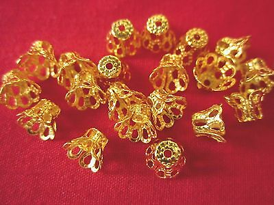 50 Gold Coloured 5mmx6mm Filigree Bead Caps #bc955 Jewellery Making Findings