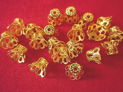 50 Gold Coloured 5x6mm Filigree Bead Caps #bc955 Combine Post-See Listing