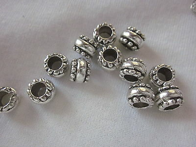 10 Big Hole Silver Colour 9x7mm Spacer Beads #2763