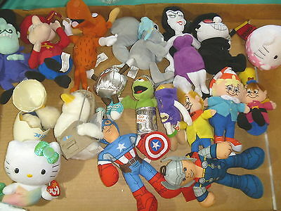 18 Plush Toys Rice Krispies  Scooby Aflac Dq Oscar Bullwinkle Capt America Lot