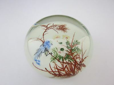 Rare Vintage Chinese White Magnum Paperweight Hand Painted Bluebird & Foliage