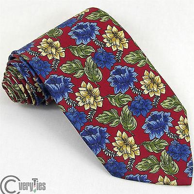 Cravatta NADA Alta Qualità Bordeaux Giallo Floreale 100% Seta Made in Italy Tie
