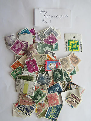 100 used postage stamps from the NETHERLANDS no doubles pack 1
