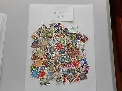 100 Used Postage Stamps From Sweden Pk 2 No Doubles