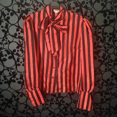 Maxton Rock Goth Red and Black Stripe Vintage 1970's 80's Blouse Shirt, Size 12