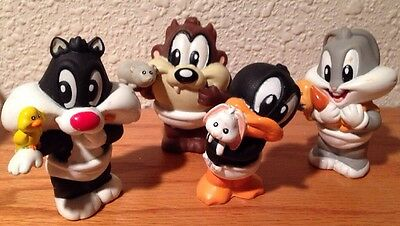 VINTAGE LOONEY TUNES BABIES Set Of 4  Bugs-Taz- Daffy-Sylvester 1996