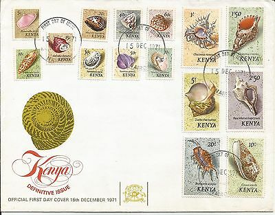 Kenya 1971 Shells definitive set on FDC