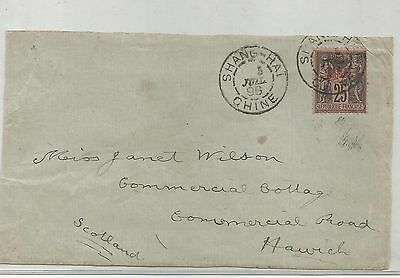 French POs in China 1896 front to UK with 25c stamp Shanghai pmk