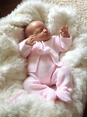 Bnwts ~ Darling Baby Girls Designer Knit 2Pce Outfit Pink - Newborn/reborn
