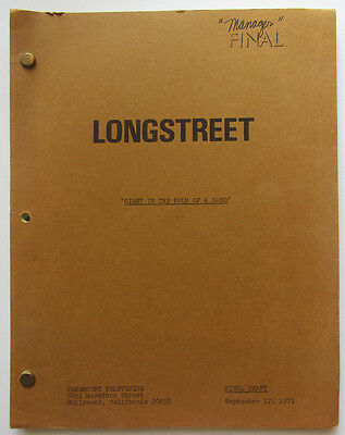 "Vintage ""Longstreet"" script Final Draft 9/17/71 The Giant in the Palm of a Hand"""