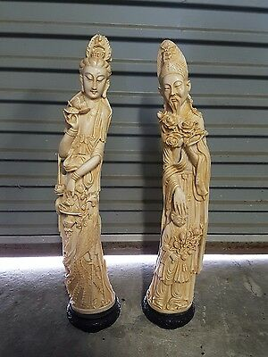 Chinese Signed EMPEROR & EMPRESS Man Woman CARVED RESIN?