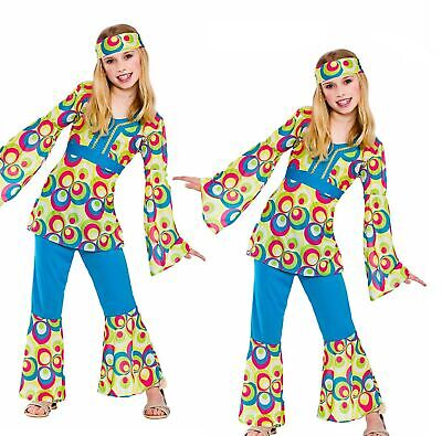 4-26 Hippie Chick Flares Costume 60s 70s Disco Ladies Hippy Fancy Dress Outfit