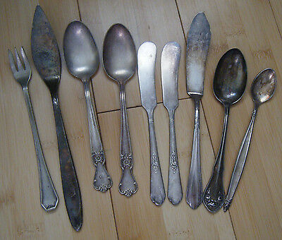 Mixed Lot of 9, Tea Spoons Butter Knives Antique Silver Plate Flatware