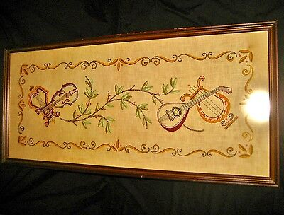 Antique Embroidered Wall Cloth Tapestry Instruments Guitar Violin Musical Music