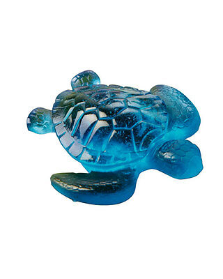 Daum France Colored Crystal Blue/Green Sea Turtle BRAND NEW with Box