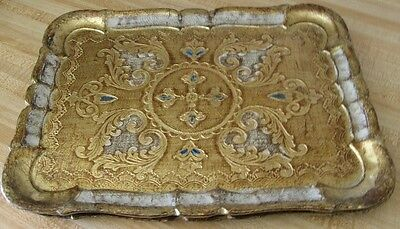 Vintage Italian Florentine Gold Gilt, Teal Accents In Center, Serving Tray