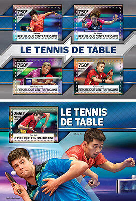 Table Tennis Ping Pong Boll Sports Central Africa MNH stamp set 2 sheets