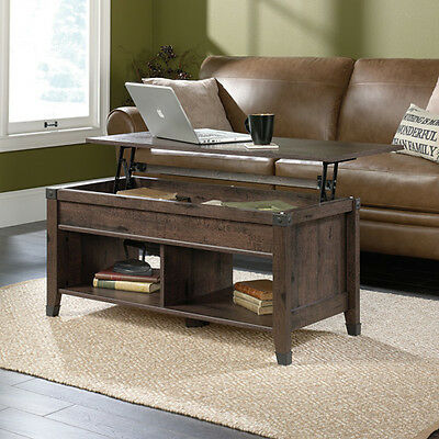 Sauder Lift Top Coffee Table Carson Forge Collection - Coffee Oak Finish