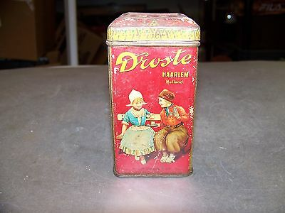 "EARLY 1900s DROSTE DUTCH PROCESS COCOA 4oz TIN CANISTER MADE IN HOLLAND 4"" TALL"