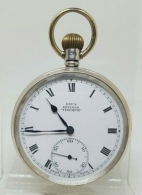 Antique solid silver gents Kay's keyless Triumph pocket watch 1930 working