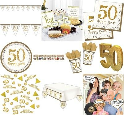 50Th Golden Wedding Happy Anniversary Partyware Celebration Decoration Matching