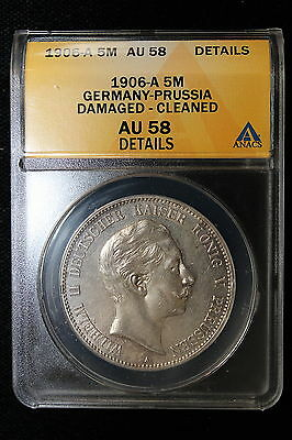1906 A Germany (Prussia). 5 Mark. ANACS Graded AU-58 (Det)