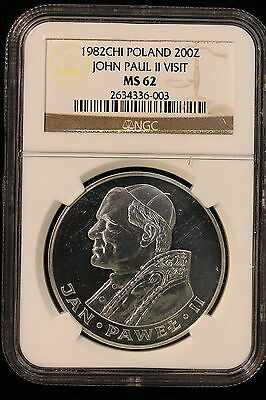 "1982 CHI Poland. 200 Zlotych. ""John Paul II Visit"". NGC Graded MS-62"