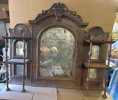 Vintage Very Old Cast Iron Fireplace Over Mantle Mirror w/ Two Tier Shelves