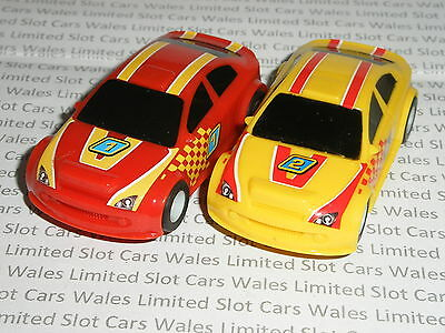 MICRO Scalextric - Pair of Dirt Rally Racers (Red #1/Yellow #2) - Mint
