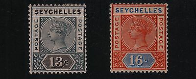 SEYCHELLES #9 and #12 Mint Hinged 1890 QUEEN VICTORIA SCV $17.00