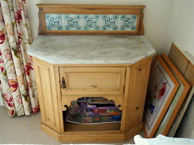 Marble topped Pine cupboard and wash stand