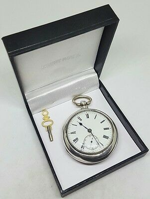 Antique solid silver fusee pair cased  London pocket watch 1878 working