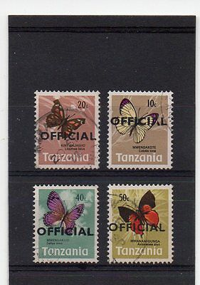TANZANIA 1977 BUTTERFLY Definitives EMERGENCY OVERPRINT 'OFFICIAL' LOCALLY USED.