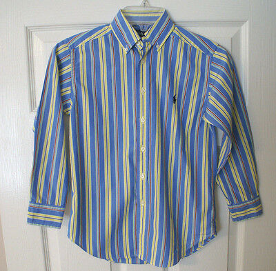 Boy's Ralph Lauren POLO Blue Striped Long Sleeve Button Down Shirt - Size S/8