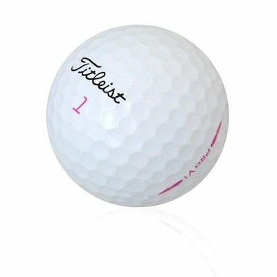 100 AAA+ Limited Edition Titleist Pro V1 Pink Sidestamp & Number Used Golf Balls