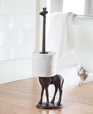 Cast Iron Giraffe Toilet Roll Holder Free Standing Novelty Kitchen Roll Holder
