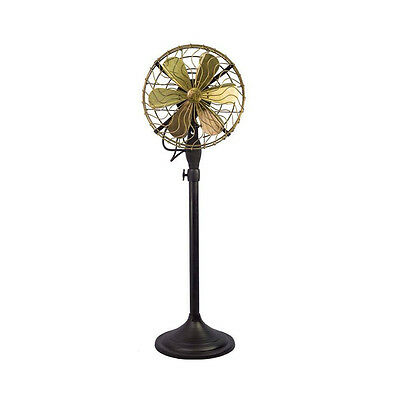 """12"""" Brass Blade Electric Floor Stand Fan Oscillating Vintage Metal Antique style"""