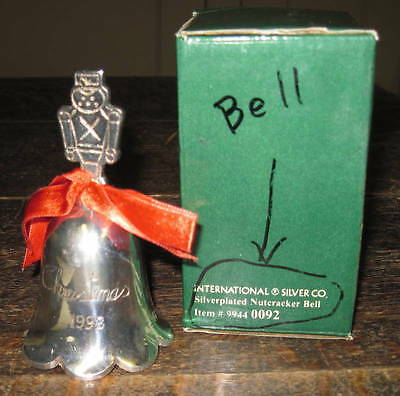 1992 Silverplated Christmas Bell with Nutcracker handle