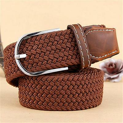 2017 Mens Brown Leather Elastic Braided Belt Stretch Pin Buckle Golf Belt Sports