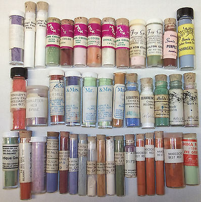 42 glass Vials China Paint Powder for Porcelain Mack Mr. & Mrs. Renaldy's & more