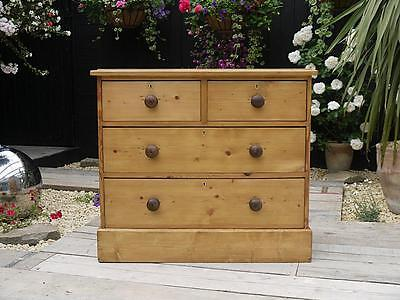 Lovely Old Antique (Victorian) Stripped Pine Chest Of Drawers - We Deliver!!