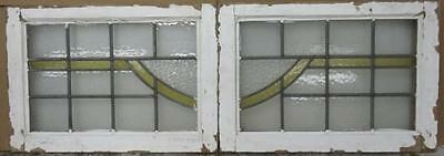"""PAIR OF OLD ENGLISH STAINED GLASS WINDOWS Pleasant Geometric Swing 24.75 x 17.5"""""""