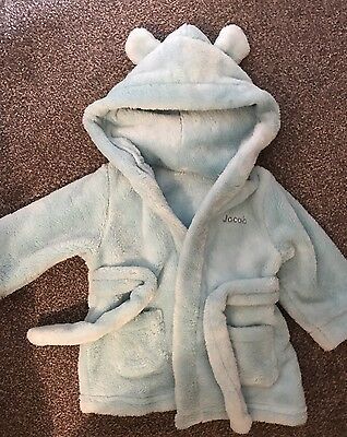 Ex Cond Hooded Baby Boys 'jacob' Dressing Gown, 6-12 Months